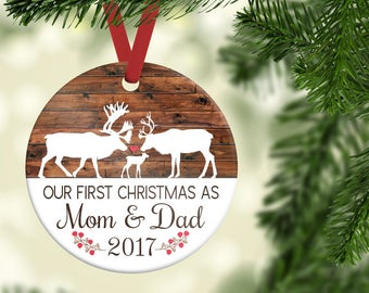 New Parent Ornament| First Christmas as mom and dad ornament| Family Ornament| Deer Ornament| Personalized Ornament| Mom and Dad gift| CO01