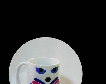 CAT LOVER Mug Gift; 10 oz white ceramic mug created by Pam Ponsart with front and back design featuring a Cat's face and title