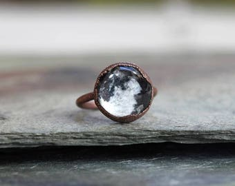 Moon Ring Electroformed Copper Ring Full Moon Glass Ring Outer Space Geekery Star Gazer Astronomy Gift