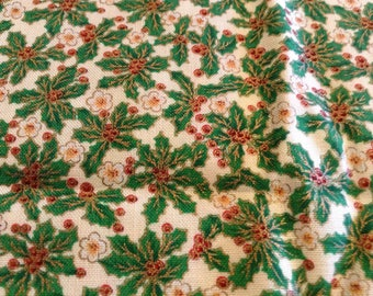 Holly, with gold details, and berries Christmas fabric - 2 yards.