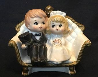Vintage Made in Japan Lefton Bride and Groom Cake Topper