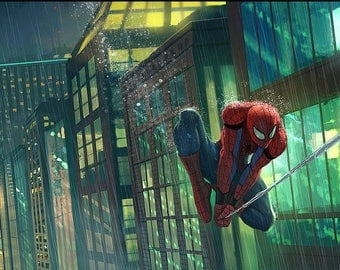 Spiderman Print / Superhero Poster / Marvel Spiderman Poster (12 x 18)