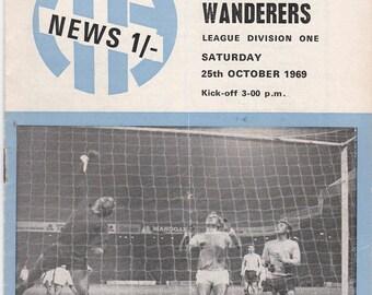 Vintage Football (soccer) Programme - Manchester City v Wolverhampton Wanderers, 1969/70 season
