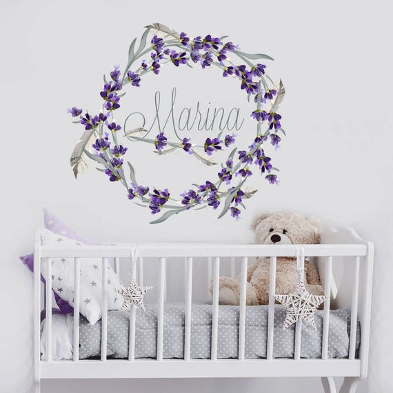 Rustic Wall Decor For Nursery : Girls name wall decal rustic nursery decor personalized