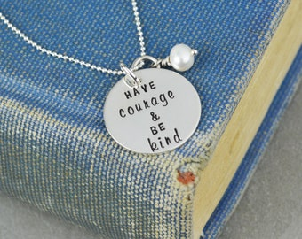Have Courage and Be Kind Necklace in Sterling Silver • Freshwater Pearl • Inspirational Jewelry