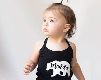 Custom name baby bear tank top girls