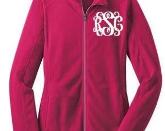 Monogrammed Fuchsia Microfleece Jacket/Ladies Microfleece Jacket/Monogrammed Jacket/Monogrammed Gifts