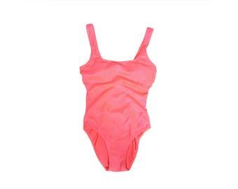 90s One Piece Swimsuit - 90s Neon Coral Pink Swimsuit - Size Medium - Neon Florescent - Vintage Swimsuit - Onepiece Swimwear - 80s swimsuit