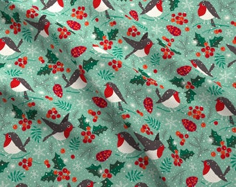 Christmas Fabric Christmas Cotton Fabric by the Yard Winter Birds Holly Holiday Quilting Fabric Xmas Knit Fabric Minky 5635018