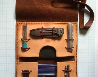 Hand Stitched Leather tool roll / every day carry / accessory pouch.