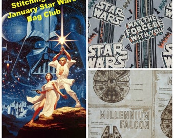 May the Force Be w/You Star Wars inspired Project Bag Society, Bag of the Month 2018: January  Drawstring / Zipper, 1 month subscription