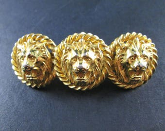 Vintage Anne Klein Gold Tn Lion Head Barrette Made in France