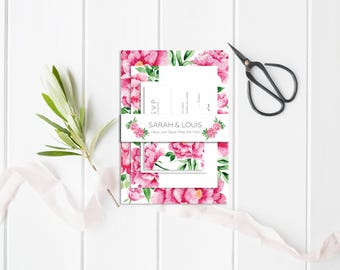 Peonies Wedding belly-band - Flowers Belly-Band - Wedding Belly-Band for invitations - Floral Belly-Band - Peonies Wedding Invitation