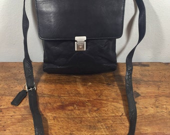 Black Leather Organizer Bag, Purse, Shoulder Bag
