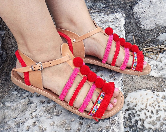Strawberry Pom Pom Boho Sandals / Lace Stripe Sandals/ Genuine Greek Natural Leather / Rubber Sole / One ankle Strap Gladiator Sandals