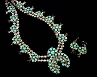 182g Vintage Navajo Sterling Silver Squash Blossom Necklace & Earring Set w Dreamy Royston Turquoise! FLAWLESS Classic!
