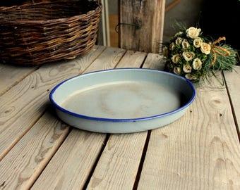 Blue Enamel Dish - Vintage Oval Dish - French Vintage Metal Enameled Oven Dish - Blue Enamelware - French Enamelware - French Kitchen