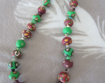 Green and Burgundy polymer clay necklace