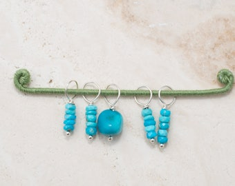 Turquoise and Sterling Silver Stitch Markers for Knitting and Crocheting /  Charms for Necklace