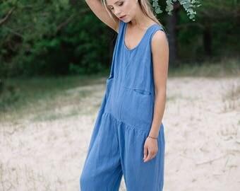 Linen jumpsuit / Loose linen Jumpsuit / Linen overall / Linen women romper / Linen clothes / Jeans blue jumpsuit / #34