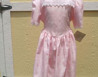 Girls Vintage Jo Lene Pink & White Lace Dress Size 14, Puffy Sleeves, Retro Pink Dress, Vintage Girls Dress 1990s, Flower Girls, Lace Collar