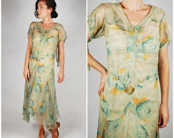 1920's Dress - 20's Floral Silk Chiffon Dress - Flapper 20's Green Dress - Size XS/S