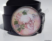 Pink Skull With Roses Belt Buckle Choice of Buckle Finish Womens Belts