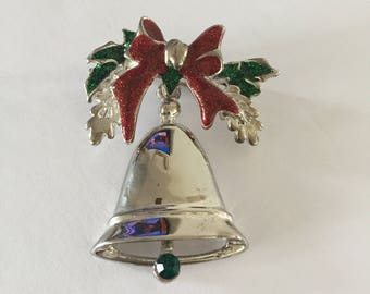 Christmas Brooch, Christmas Bell Brooch, Holiday Brooch