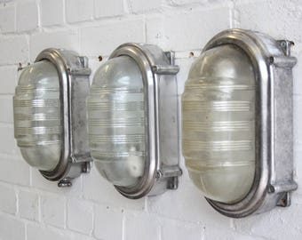 Large Wall Mounted Industrial Bulkhead Lights By Coughtrie Circa 1950s
