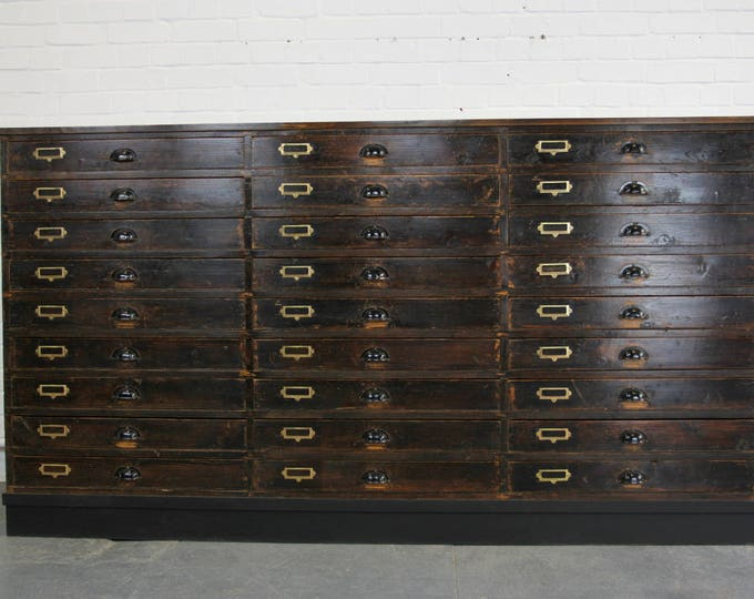 Large Bank Of Industrial Drawers Circa 1950s