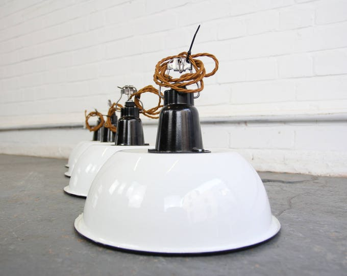 White Enamel & Bakelite Soviet Factory Lights Circa 1950s