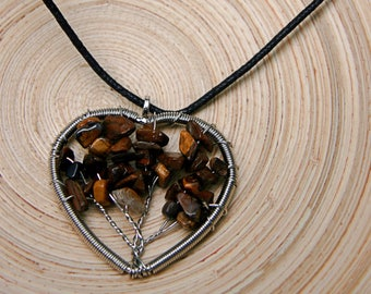 Heart Shaped Tigers Eye Tree of Life Pendant Necklace