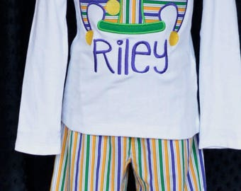 Personalized Mardi Gras Jester Hat Applique Shirt or Onesie Girl or Boy Triple Ruffle Pants Available