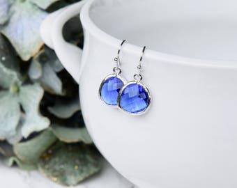 Royal Blue Crystal Earrings, Royal Crystal Drop Earrings, Royal Blue Earrings, Sparkly Blue Earrings, Bright Blue and Silver Earrings