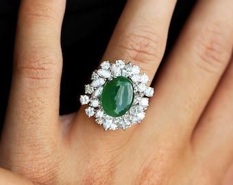 Estate Green Jade Ring with VS Diamonds in Platinum 7.50ctw