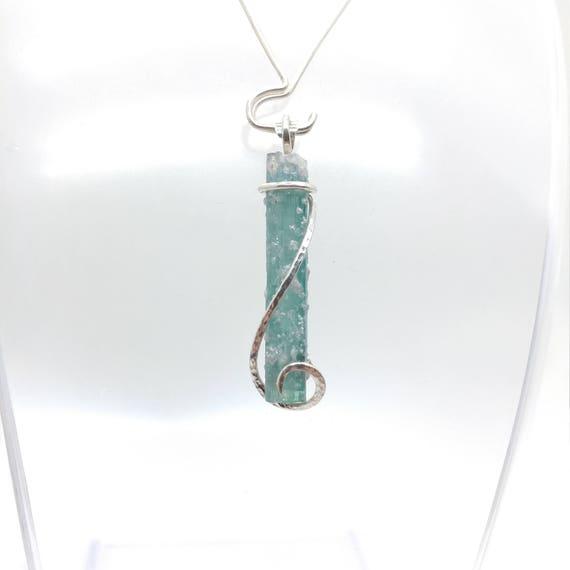 Raw Crystal Necklace   Blue Tourmaline Pendant   Sterling Silver Pendant   Rough Tourmaline Necklace   Tourmaline Crystal Pendant