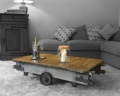 Industrial Coffee Table Rustic Mill Cart Original Antique Factory Cart