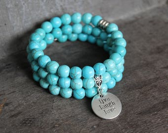 Turquoise Stone Memory Wire Bracelet - Live Laugh Love Charm