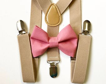 FREE DOMESTIC SHIPPING! Tan Suspenders + Mauve pink bow tie kids children toddler boy boys wedding pictures birthday formal wedding ring bea