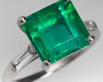 Emerald Engagement Ring - Vintage 3.3 Carat Vibrant Emerald W Baguette Cut Diamond Accents - Platinum Engagement Ring - WM12811