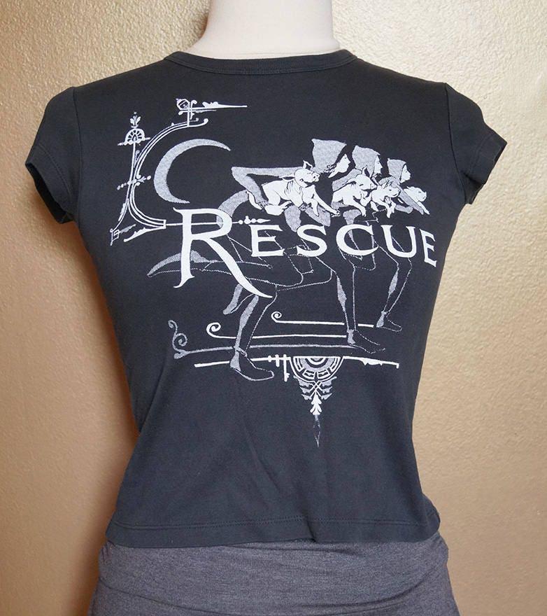 "XS ""Rescue"" Tee, White Ink on Black"