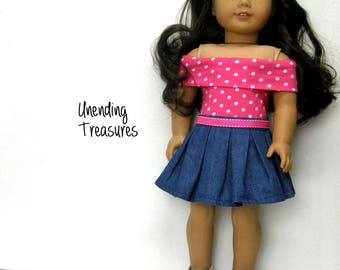 18 inch doll clothes AG doll clothes pink with white dots off shoulder top and dark denim box pleated skirt