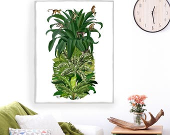 Tropical decor Monkey Pineapple print palm leaf beach house coastal living pineapple decor Tropical print home decor wall decor monkey print