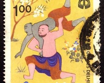 Indian Wrestlings, Sports, India -Handmade Framed Postage Stamp Art 22562AM