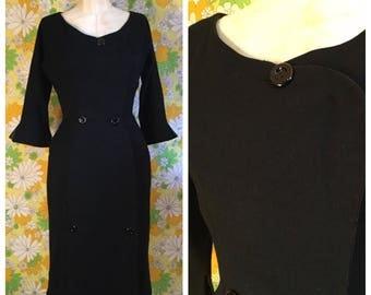 50s 60s Vintage Maggi Stover Black Wool Dress Small Medium