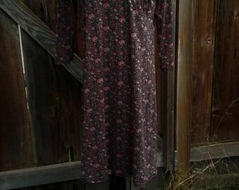 grunge dress size large black floral midi 90's babydoll stretchy