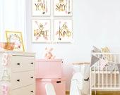 Girl Nursery Art, Room Decor, Printable Art, Nursery Wall Decor, Be You, Be Silly Be Kind, Be Brave, Childrens Room Decor