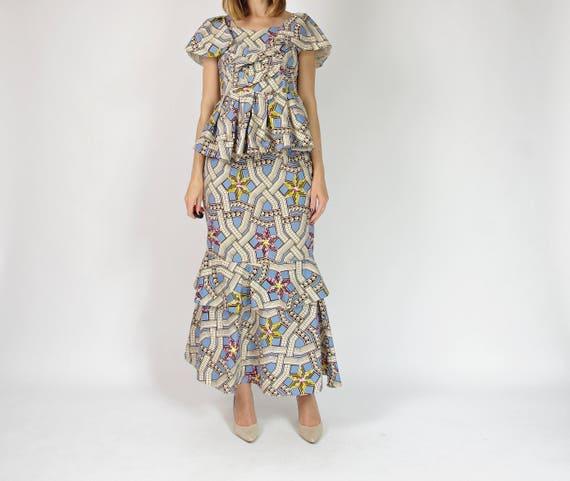 80s African kitenge cotton maxi skirt & top ensemble / size L