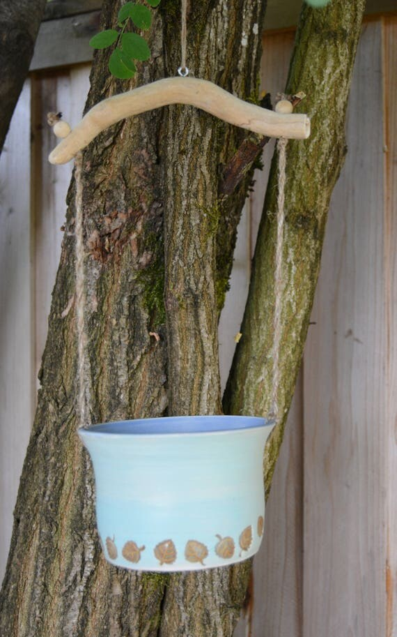 Bird Bath, Hanging Bird Bath, Squirrel Feeder, Plant Pot, Bamboo Handle, Rope, Leaves, Turquoise, Blue, Indigo Waves, Stoneware, Ceramic,