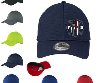 Thin Red Line, Spartan, Firefighter Flex Fit Hat, custom back ~ Fire Department, rescue, ems, remember, maltese cross